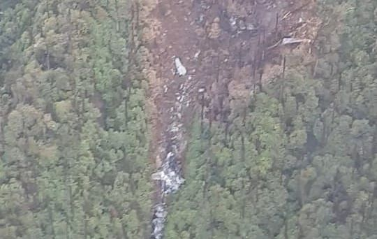 An aerial view of the AN-32 aircraft crash site in Arunachal Pradesh