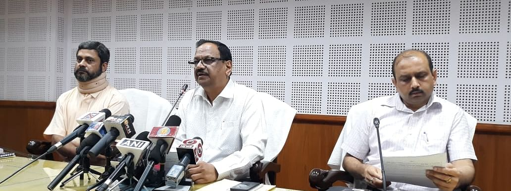 Tripura state election commissioner GK Rao (middle) with IGP Puneet Rastogi (right) and Prasenjit Bhattacharya holding a press conference on Wednesday evening