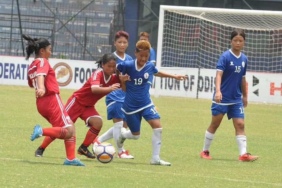 The Arunachal Pradesh team played against Gujarat in the semi-finals of the Hero Sub-Junior Girls' National Football Championship in Cuttack, Odisha on Tuesday