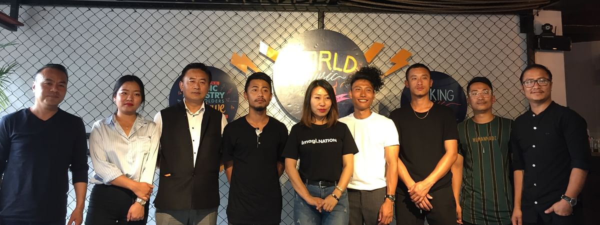 Hovithal Sothu, project director MTF, (third from left) with the event managers and other artistes during the announcement of the 1st Music Industry Stakeholders' Conclave in Kohima, Nagaland