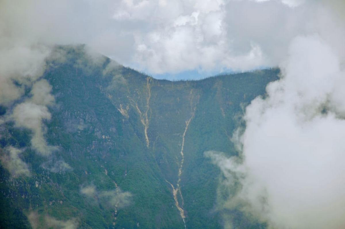 An aerial view of the site of crash of the ill-fated AN-32 aircraft in Arunachal Pradesh