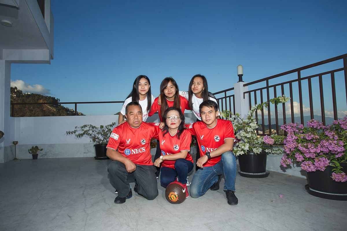 Sports minister Robert Romawia Royte with his family in Aizawl, Mizoram