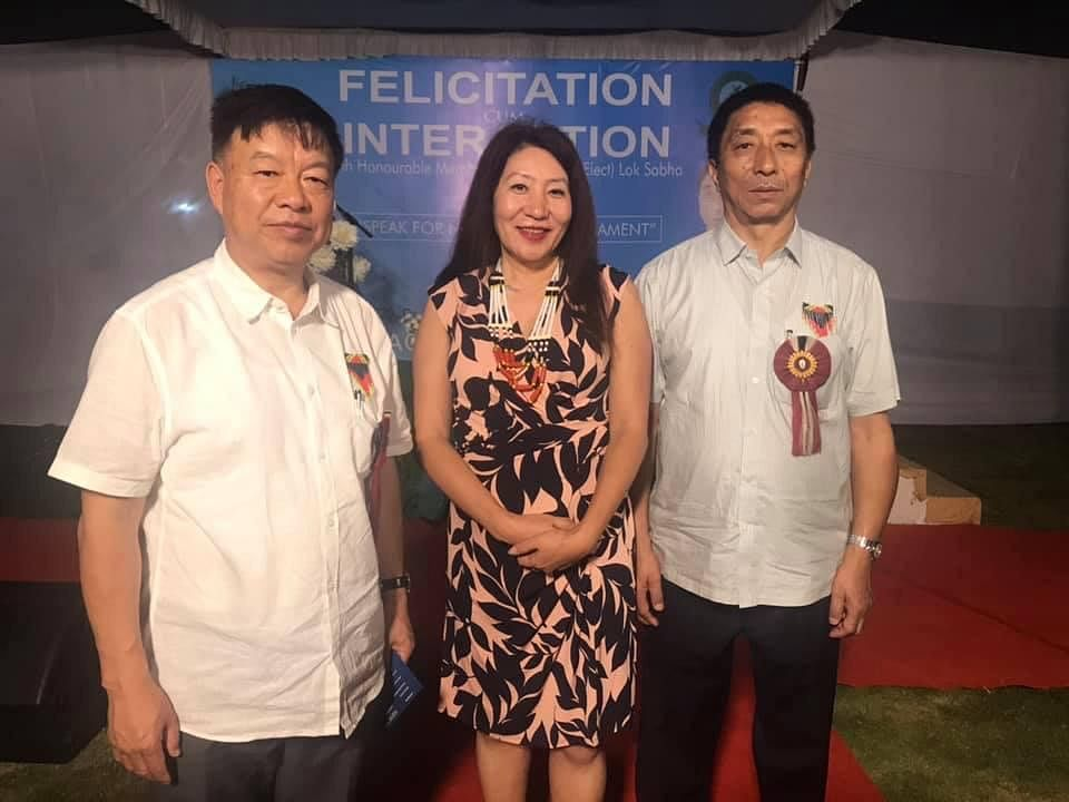 Manipur MP Dr Lorho S Pfoze (left) with national executive member of BJP's ST Morcha, Linda Newmai and Nagaland MP Tokheho Yepthomi in New Delhi recently