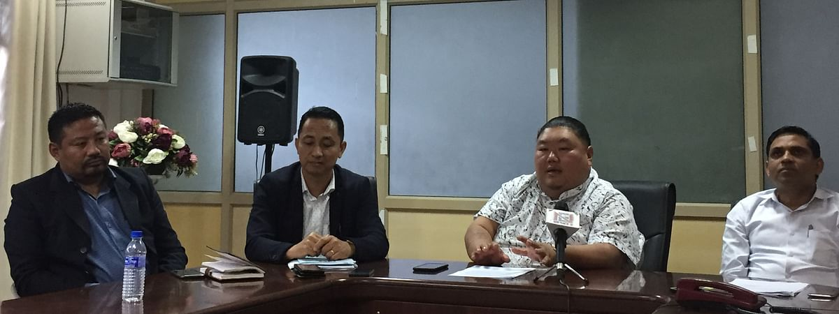 Nagaland higher and technical education minister Temjen Imna Along Longkumer (second from right) along with department officials during a press conference in Kohima on Monday