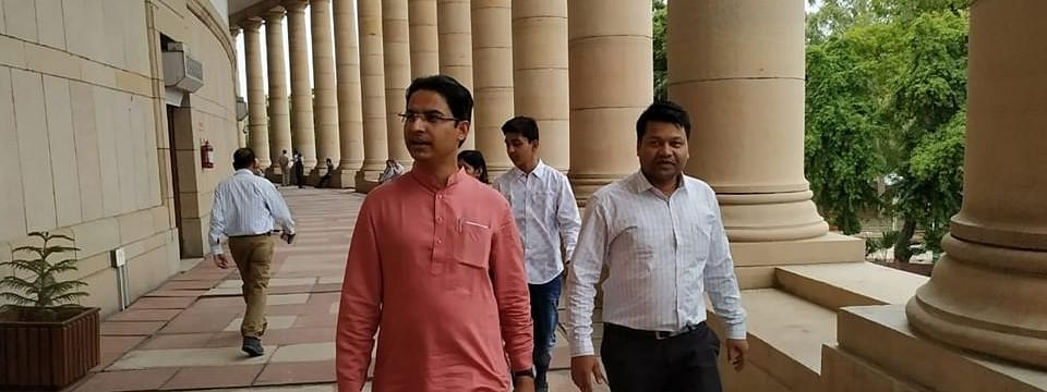 Darjeeling MP Raju Bista on his first day in Parliament on Monday