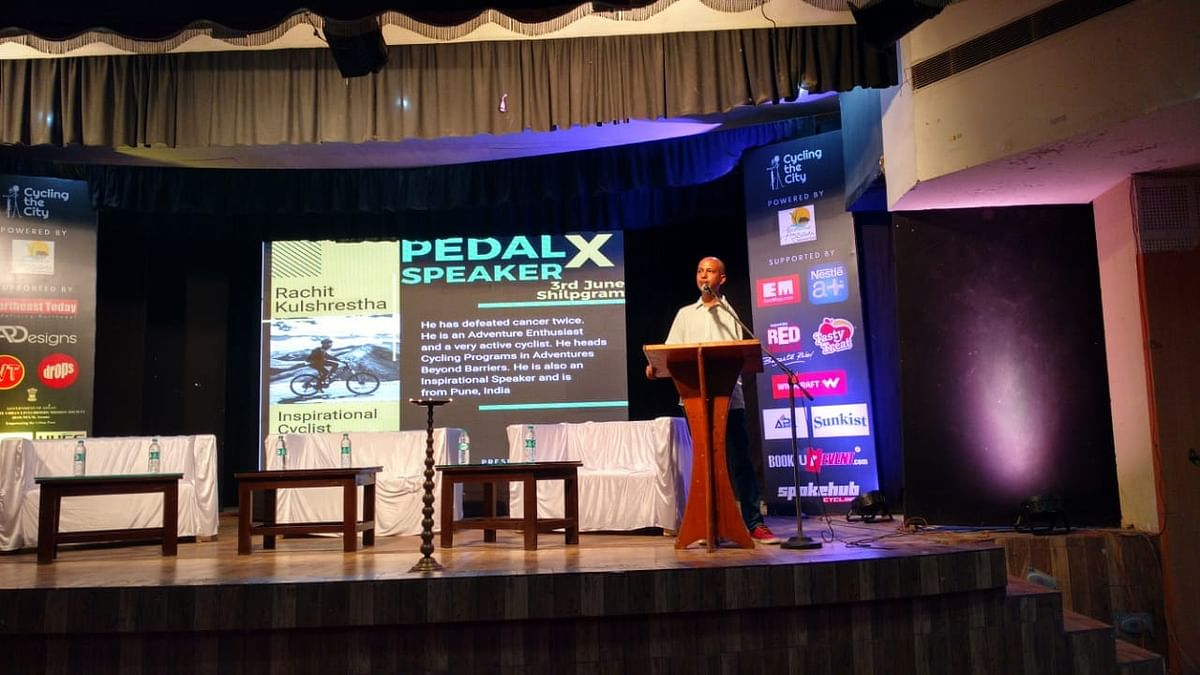 Rachit Kulshrestha speaking at PedalX, a talk session organised on the occasion of 2nd World Bicycle Day at Shilpgram, Guwahati on Monday