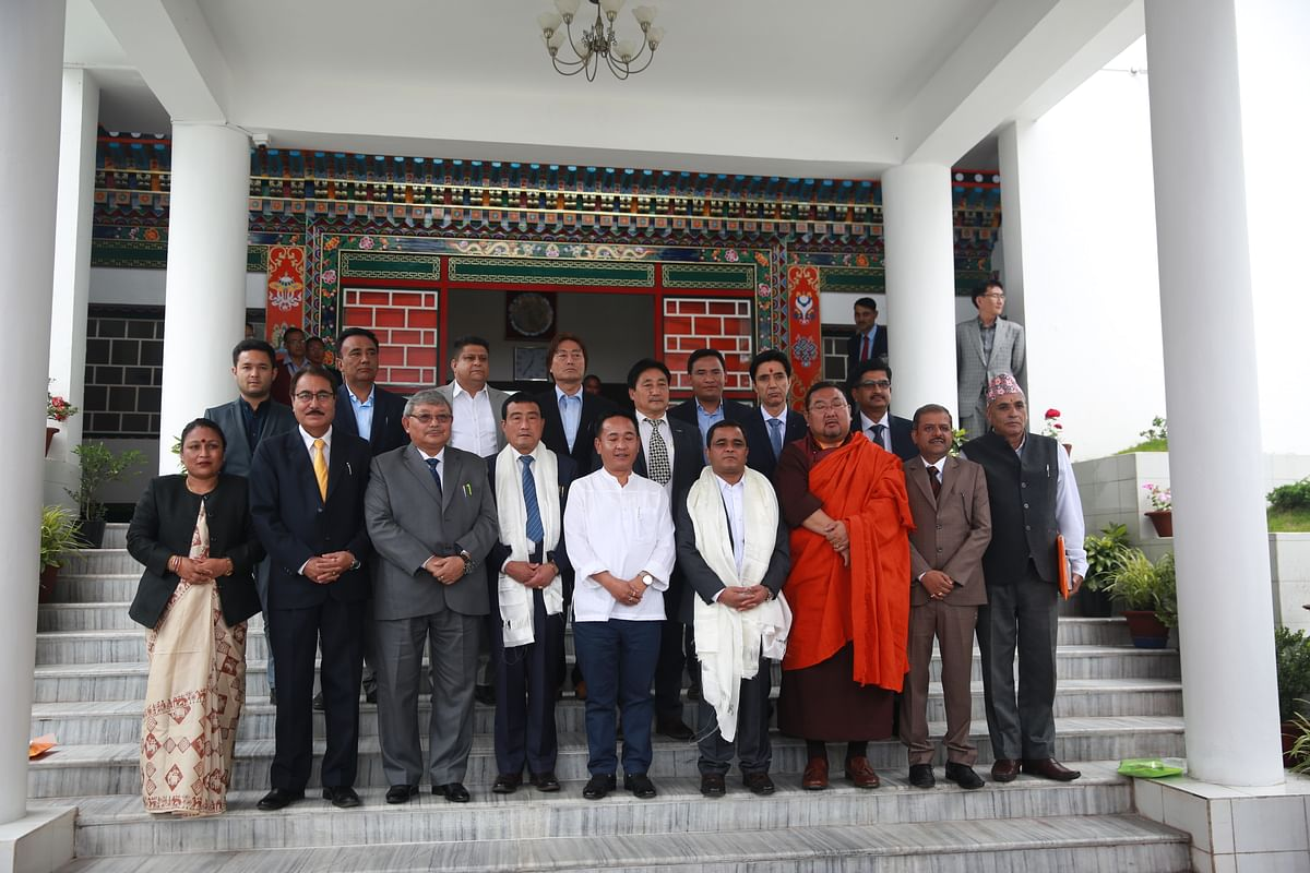 Newly-elected representatives of the Sikkim Krantikari Morcha (SKM) along with Sikkim chief minister PS Golay pose for a photograph at the Sikkim Legislative Assembly