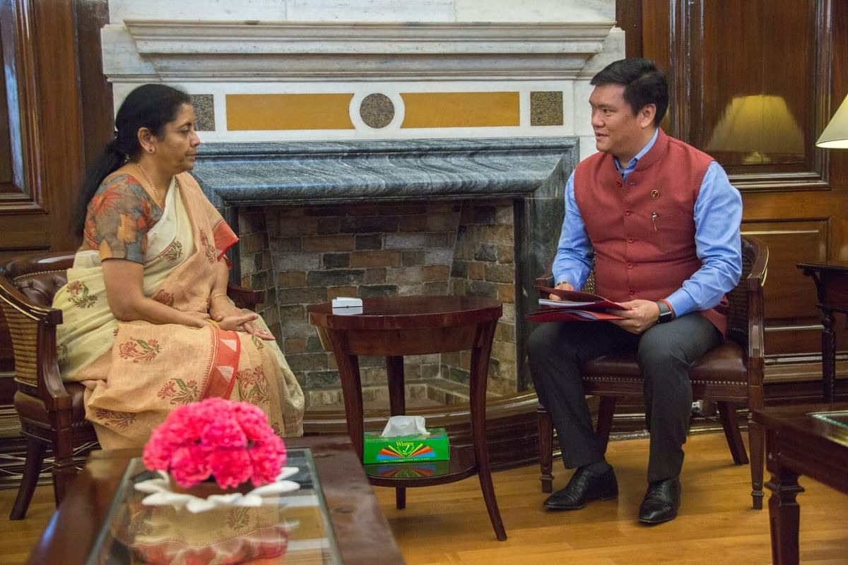 Arunachal Pradesh CM Pema Khandu (right) called on Union minister for finance and corporate affairs Nirmala Sitharaman in New Delhi on Tuesday