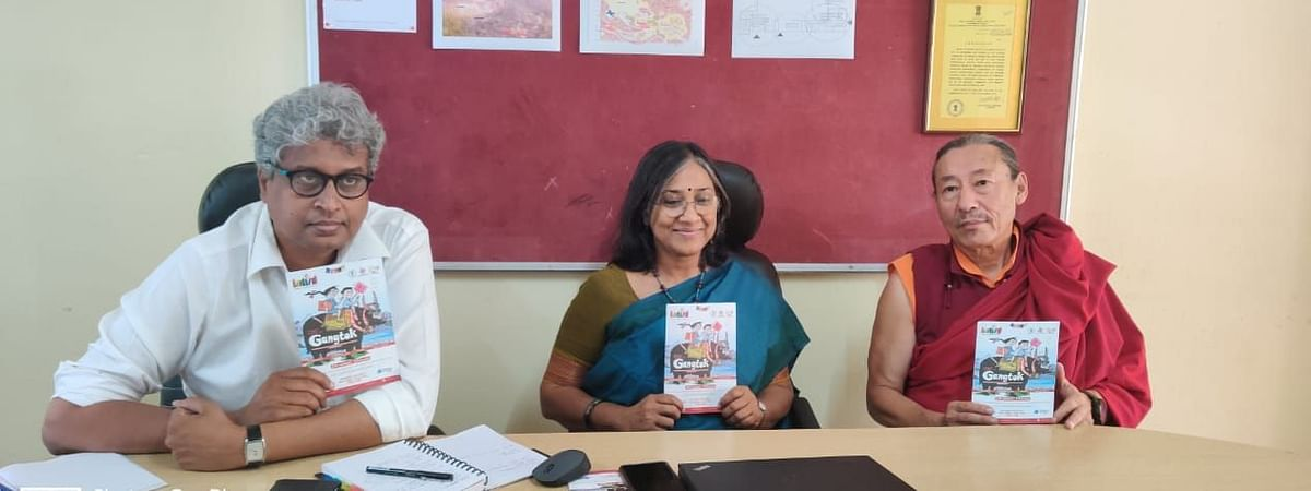 Organisers of 'Bookaroo: Festival of Children's Literature' during a press conference in Gangtok, Sikkim on Wednesday