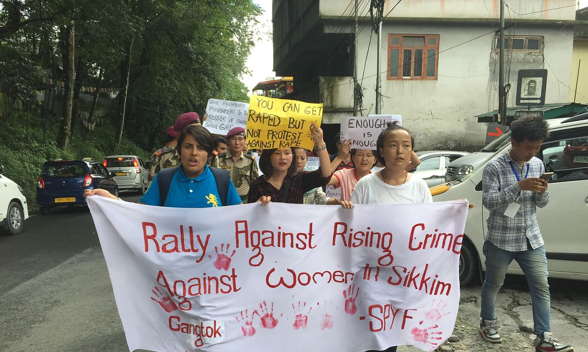 Sikkim students take to streets to protest crimes against women
