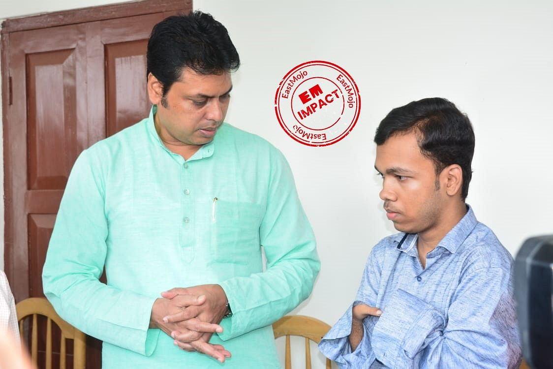 The state government will provide all possible support to Pralay Dey (right) along with free higher education, said Tripura CM Biplab Kumar Deb