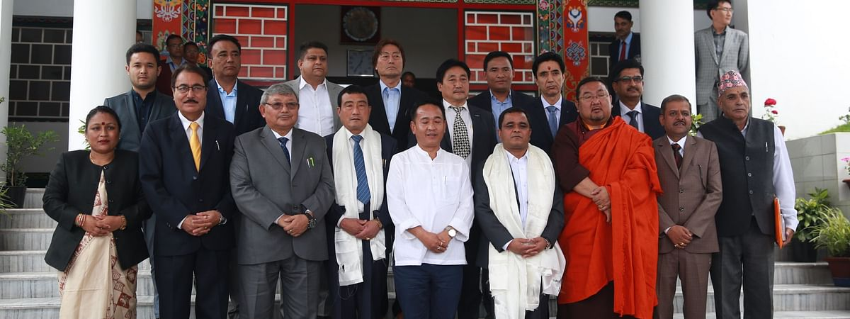 Newly elected legislators of Sikkim Krantikari Morcha along with chief minister PS Golay pose for photograph after taking oath