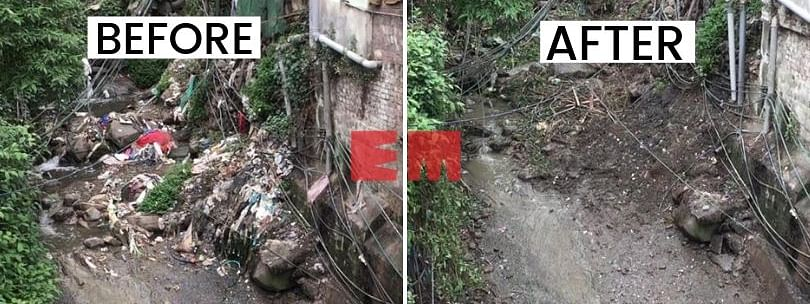 A portion of Dzuvuru near Kohima in Nagaland, before and after the clean-up drive on Wednesday