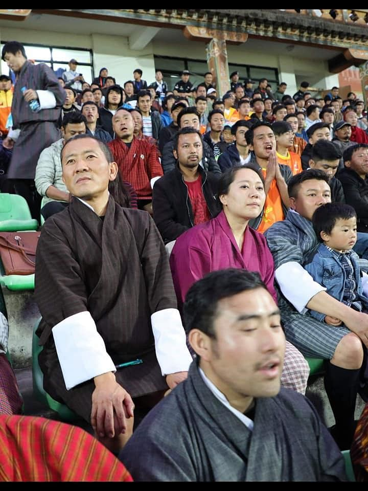 Bhutan PM Lotay Tshering enjoying the match against Guam on Thursday