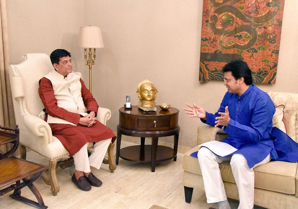 Tripura chief minister Biplab Kumar Deb (right) with Union minister of commerce and industry Piyush Goyal in New Delhi
