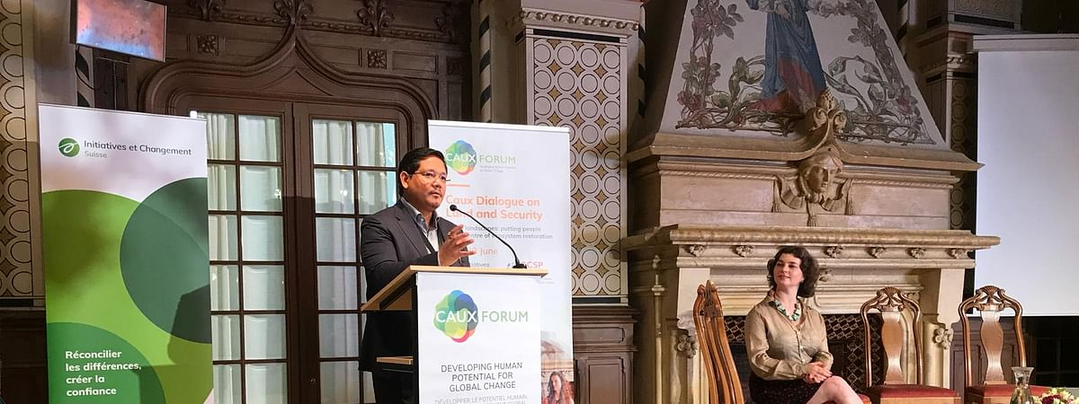 Meghalaya chief minister Conrad K Sangma speaking at Caux Forum, Switzerland