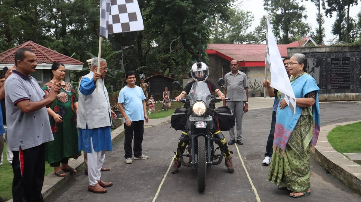 Nagaland biker Onen Nenty's solo tour was flagged off by governor PB Acharya and his wife in Kohima on Wednesday morning