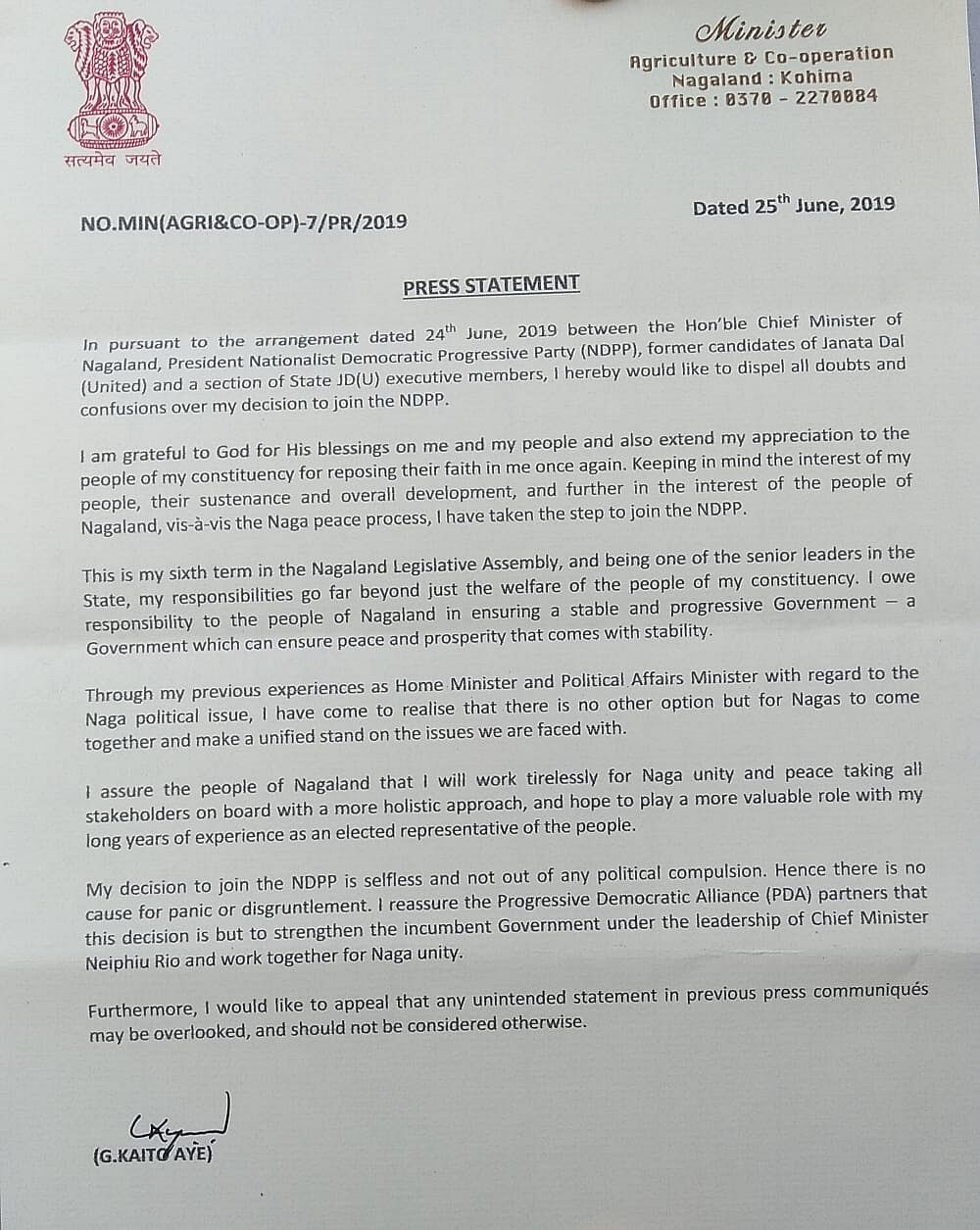 A press statement  issued by Nagaland minister G Kaito Aye