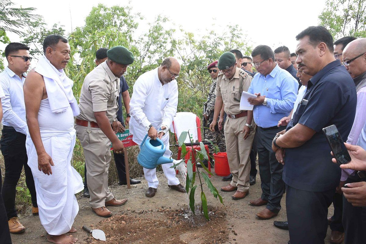 CM N Biren Singh planted tree sapling at Heibokching in Imphal West on Wednesday