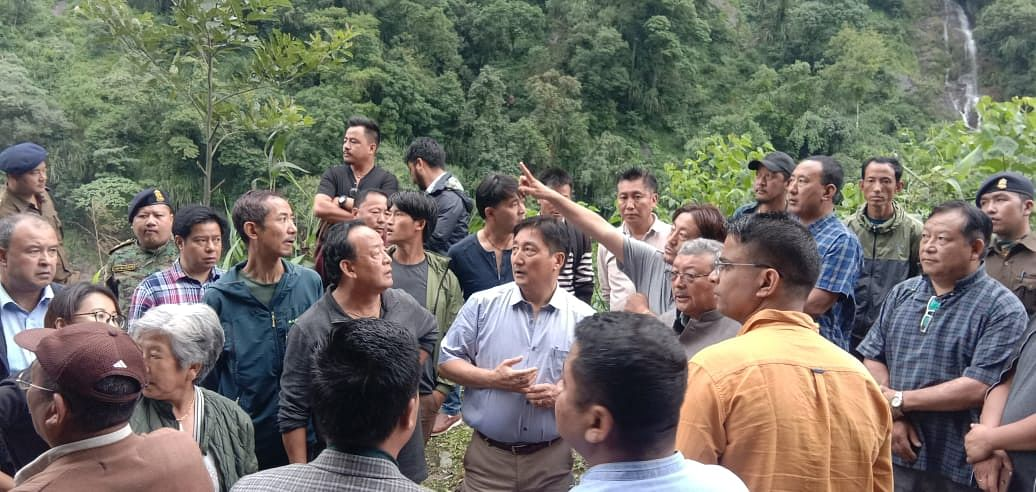 Officials inspecting the damaged spots in North Sikkim