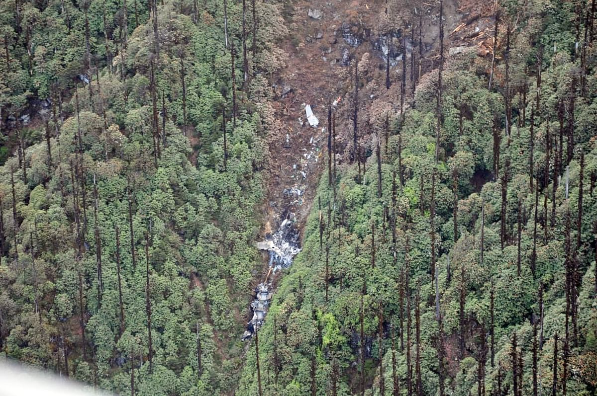 The site of crash as seen from a search and recovery helicopter of the Indian Air Force