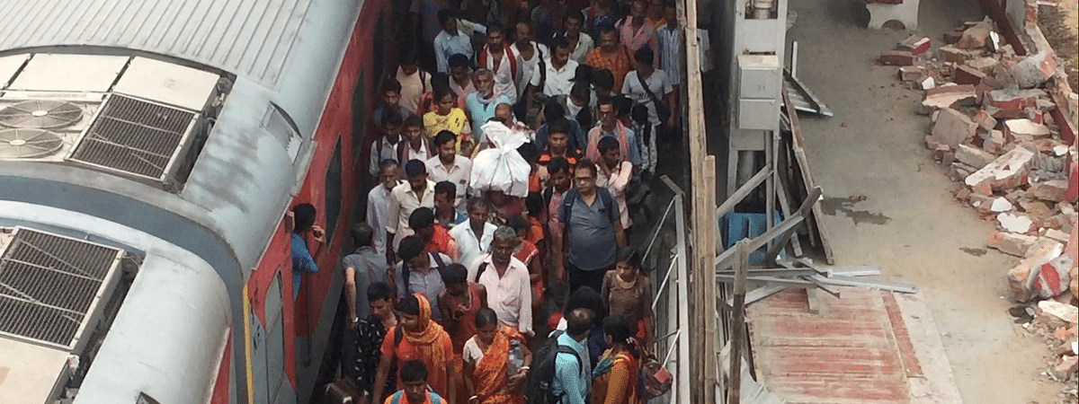 Pilgrims in large numbers reach Kamakhya railway station for the ensuing Ambubachi Mela in Guwahati, Assam on Thursday
