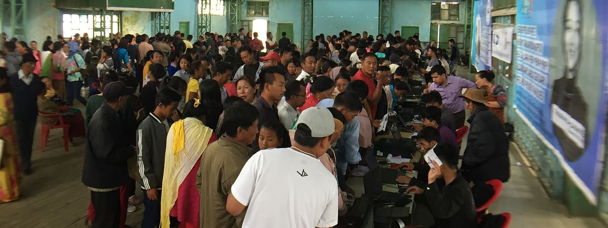 Residents gathered at the Townhall in Ukhrul, Manipur for the mass enrollment camp
