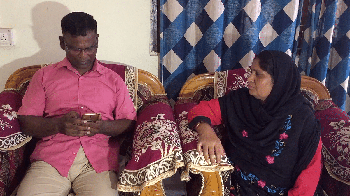 Army veteran Mohammed Sanaullah with his wife at their residence in Guwahati on Tuesday