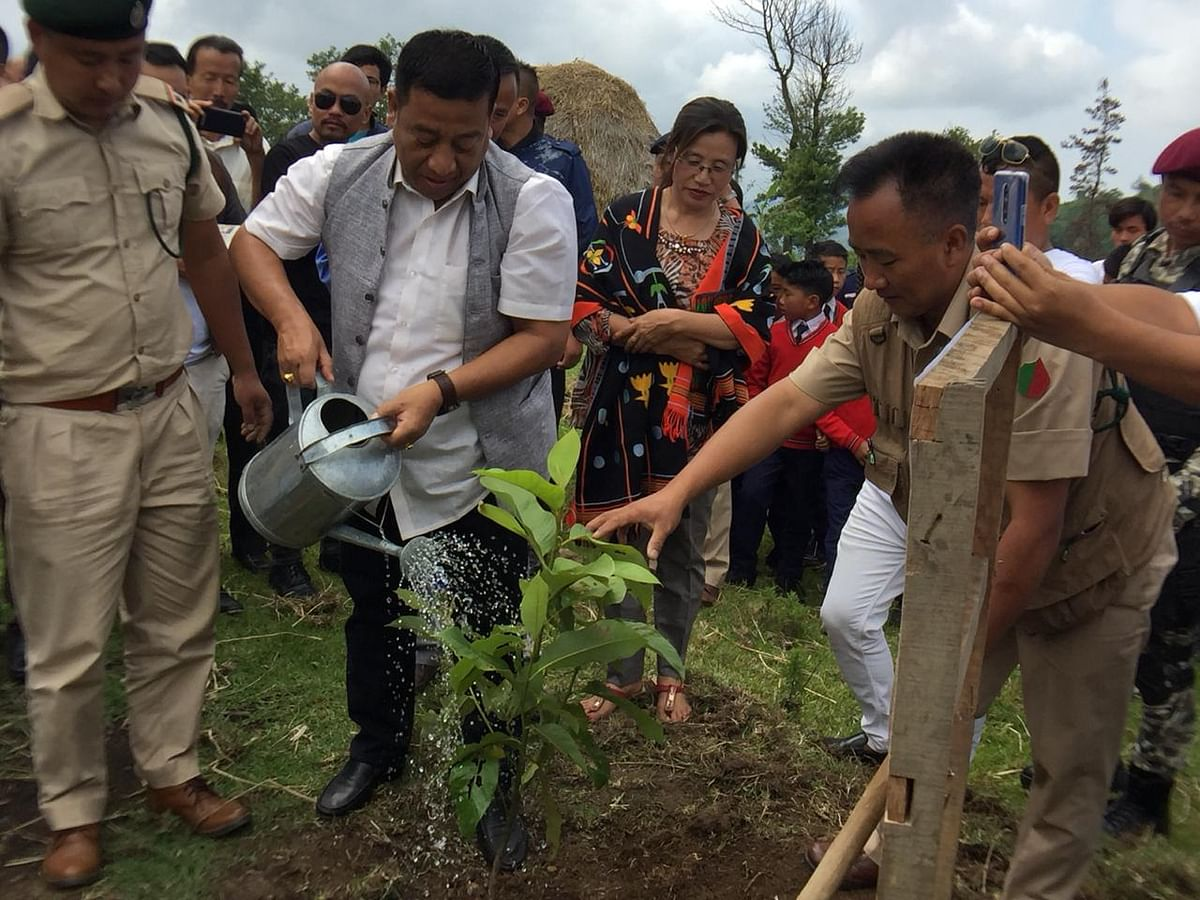 Manipur minister Th Shyamkumar Singh urged people to plant trees to make the state greener