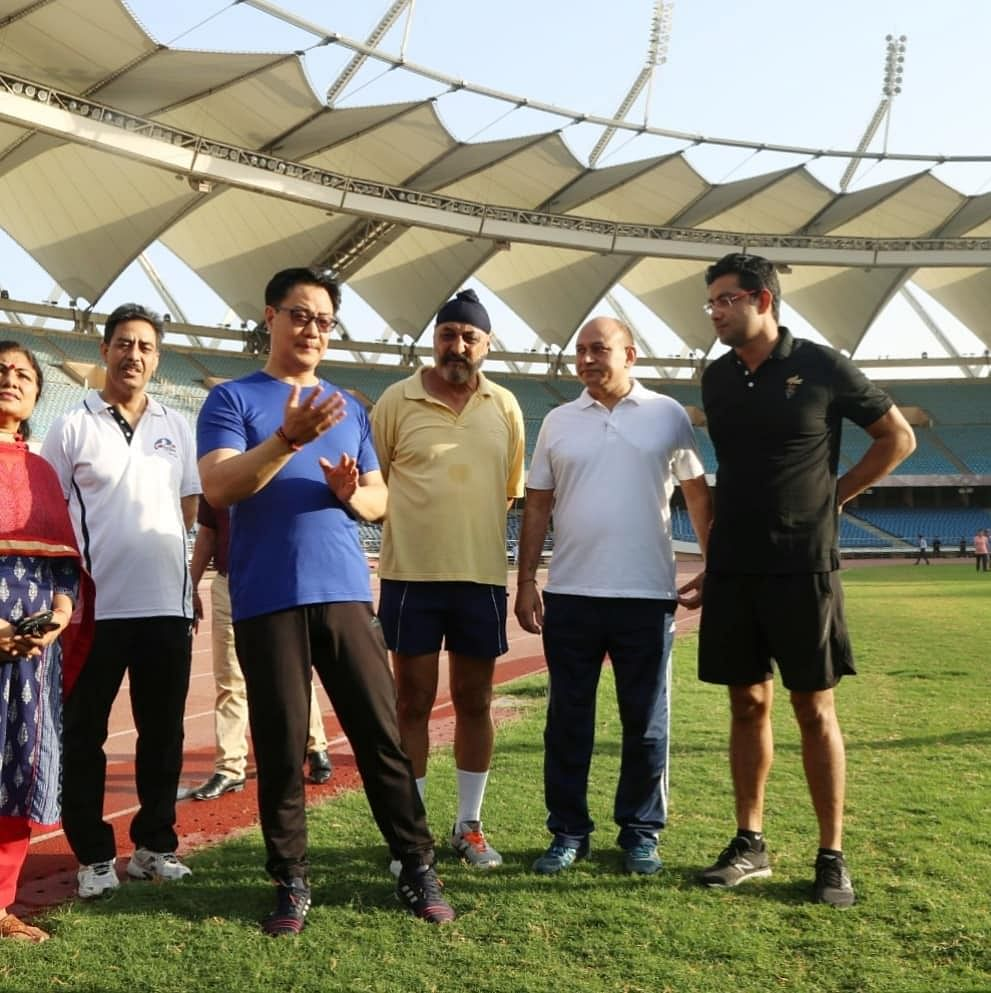 Sports minister Kiren Rijiju went to get first-hand feedback from the athletes at Jawaharlal Nehru Stadium in New Delhi on Friday morning