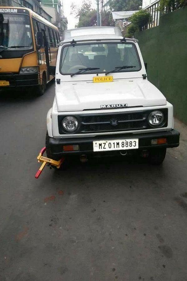 Last year, the picture of a police vehicle getting clamped for parking illegally in the middle of the road in Mizoram had gone viral