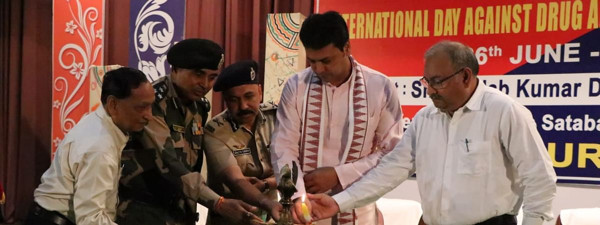 Tripura chief minister Biplab Kumar Deb inaugurating a session on the occasion of International Day against Drug Abuse and Illicit Trafficking in Agartala on Wednesday