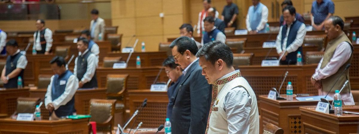 The 1st session of the 7th Legislative Assembly of Arunachal paying homage to Khonsa West MLA Tirong Aboh who was killed by insurgents along with 10 others on May 21