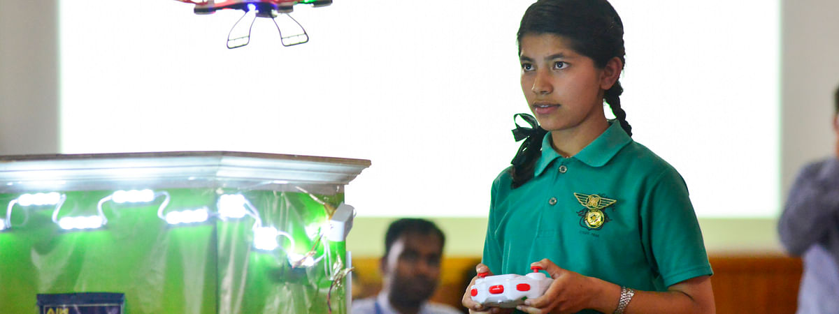 Prerna Chettri was awarded the best drone pilot in the competition
