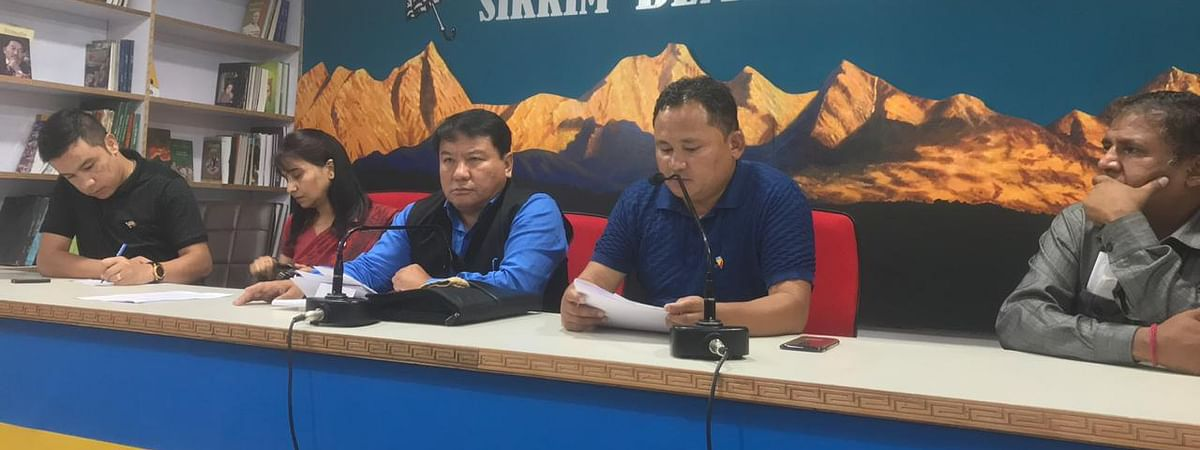 Sikkim Democratic Front leaders addressing a press conference on Thursday