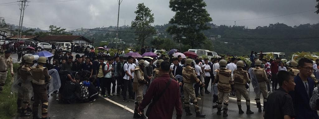 Members of the All Nagaland College Students' Union protesting in Kohima
