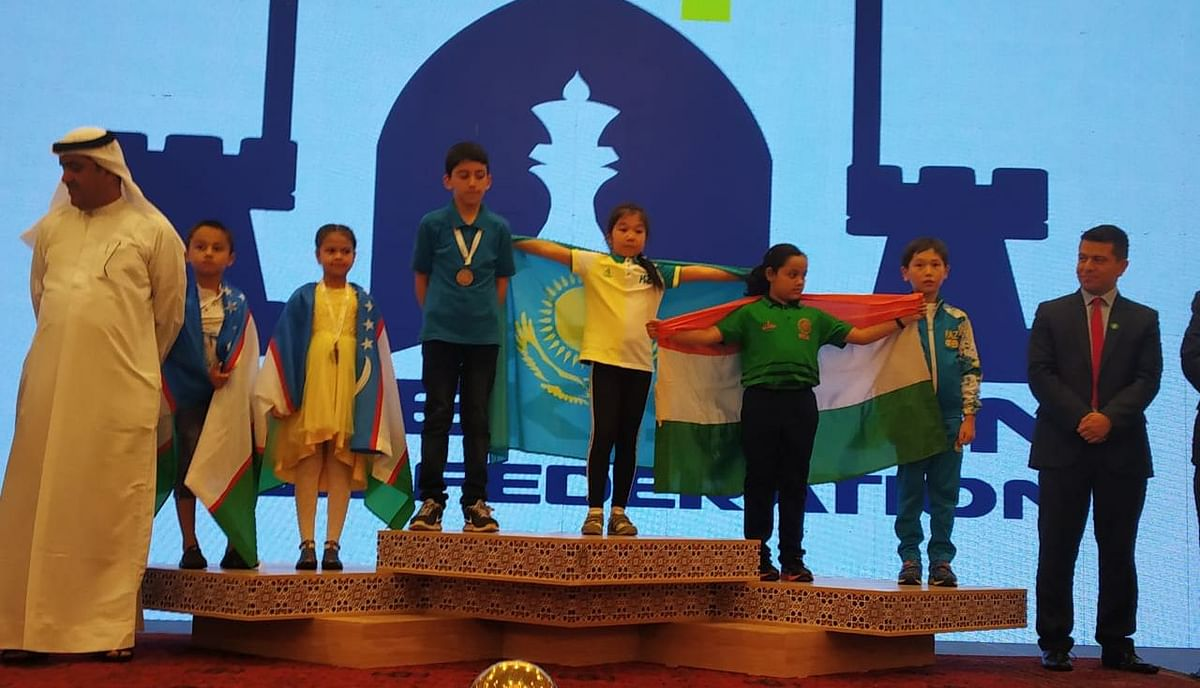 Arshiya Das after winning a bronze medal in the standard category at the Asian School Chess Championship in Uzbekistan on Thursday
