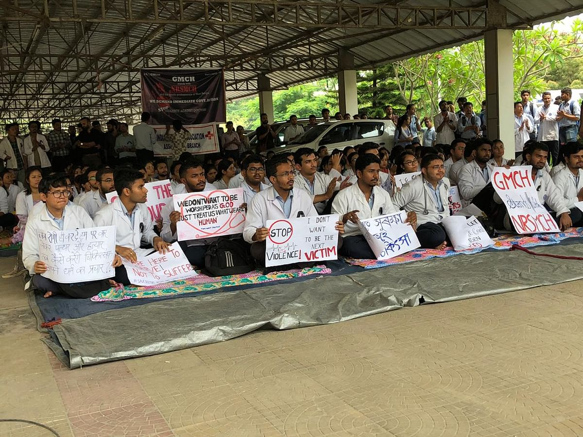 Resident doctors, interns and faculty members under the banner of Junior Doctors' Association of Gauhati Medical College & Hospital join the nationwide strike at the GMCH on Monday