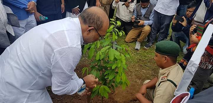 CM N Biren Singh planting a sapling on the occasion of World Environment Day in Ukhrul