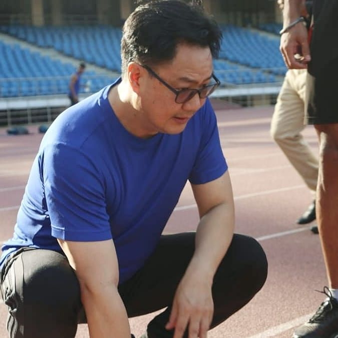After a warm-up, sports minister Kiren Rijiju tried his hand at javelin throwing, along with other throwers and made an impressive score at Jawaharlal Nehru Stadium on Friday