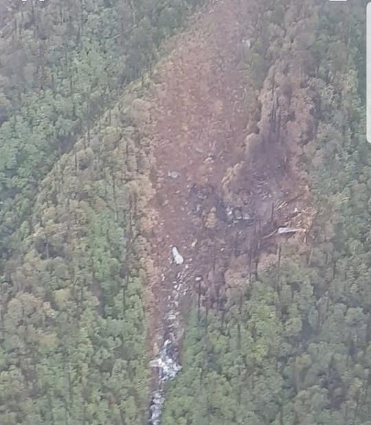 An aerial view of the site of wreckage of the ill-fated AN-32 aircraft in Arunachal Pradesh
