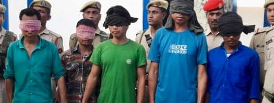 Apprehended members of the anti-talk faction of the Karbi People's Liberation Tiger