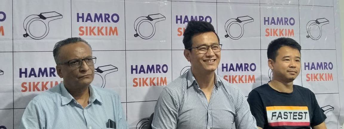 Hamro Sikkim Party's acting president Bhaichung Bhutia along with party spokesperson Biraj Adhikari addressing the media in Gangtok, Sikkim