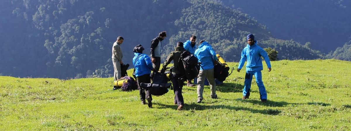 The team of mountaineers near the crash site of the ill-fated AN-32 aircraft in Arunachal Pradesh