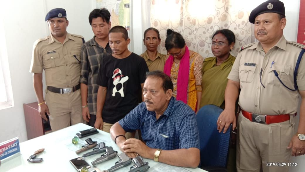 On Wednesday, three persons were arrested from the Agartala railway station with five pistols