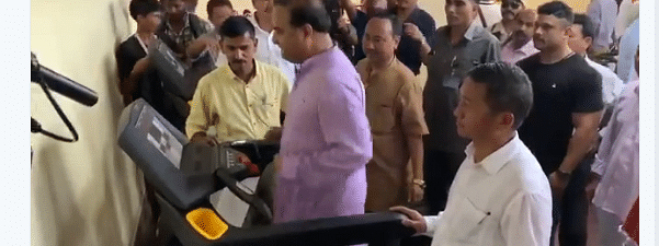 Minister Himanta Biswa Sarma using the treadmill during the inauguration of a sports complex in Assam's Karbi Anglong district on Sunday