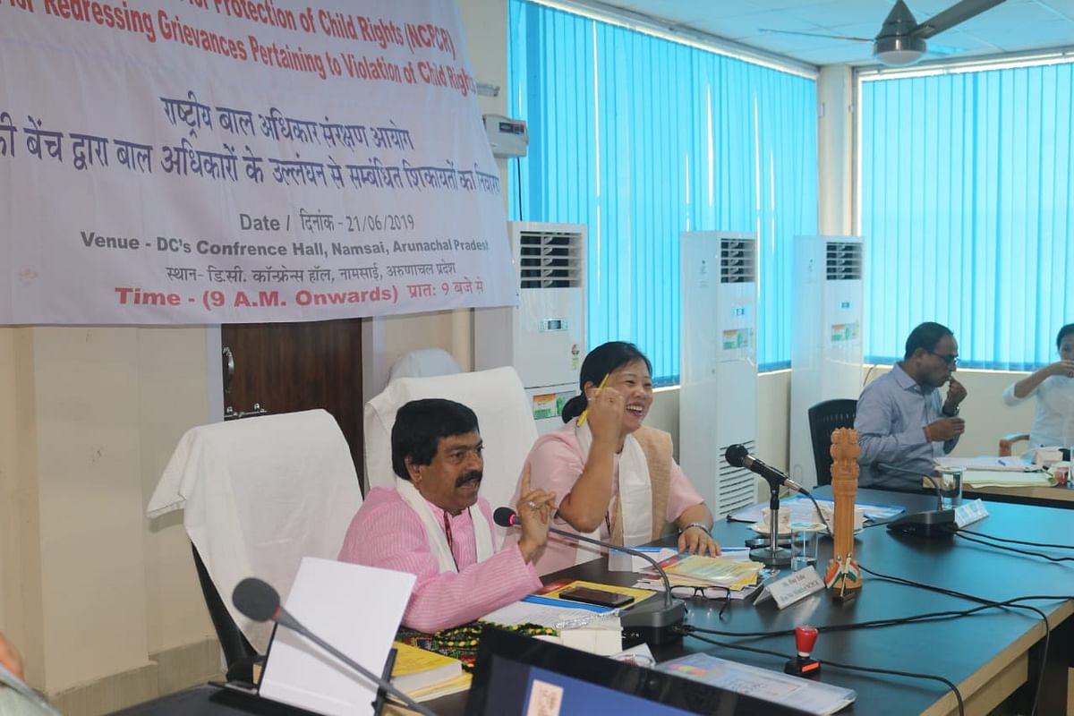 A two-member bench of the National Commission for Protection of Child Rights (NCPCR), comprising Yashwant Jain (left) and Rozy Taba, conducted its sitting to address the grievances and issues pertaining to the rights of children as provided under Section 13 of the CPCR Act, in Namsai, Arunachal Pradesh on June 21