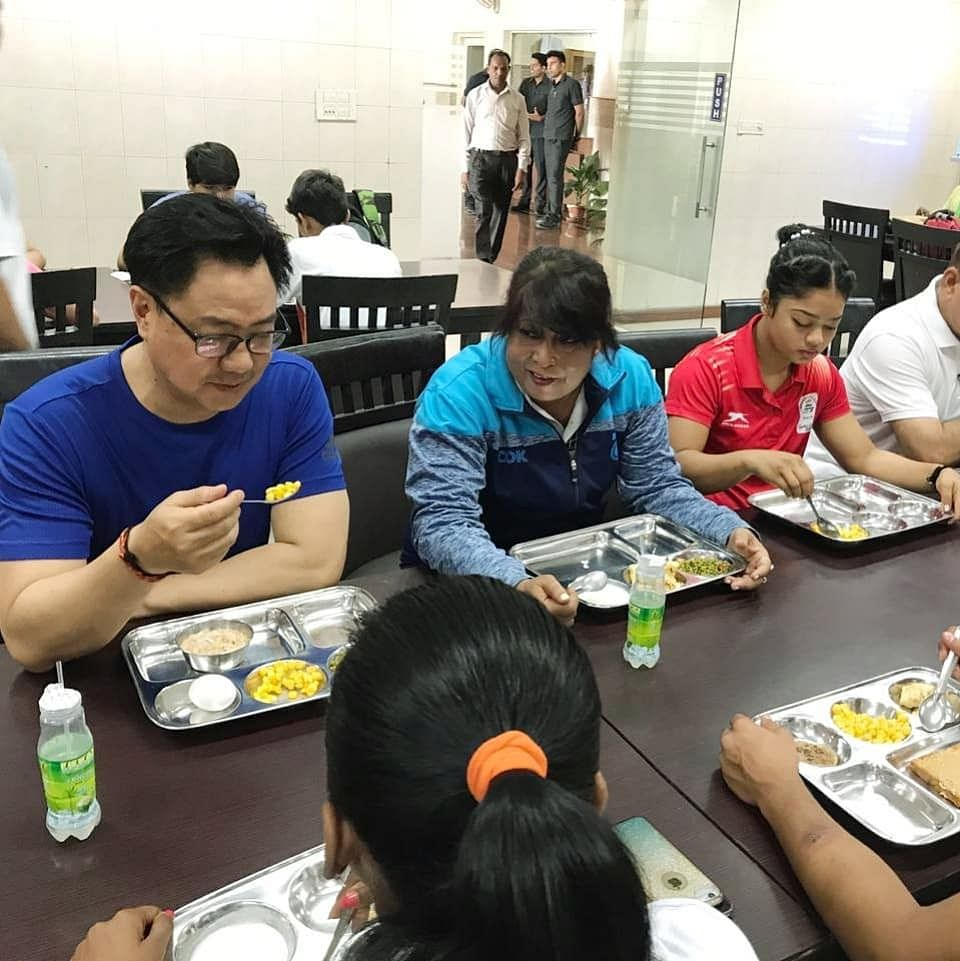 Sharing his breakfast with the athletes, sports minister Kiren Rijiju also asked them about the quality of food being served to them at Jawaharlal Nehru Stadium in New Delhi on Friday morning