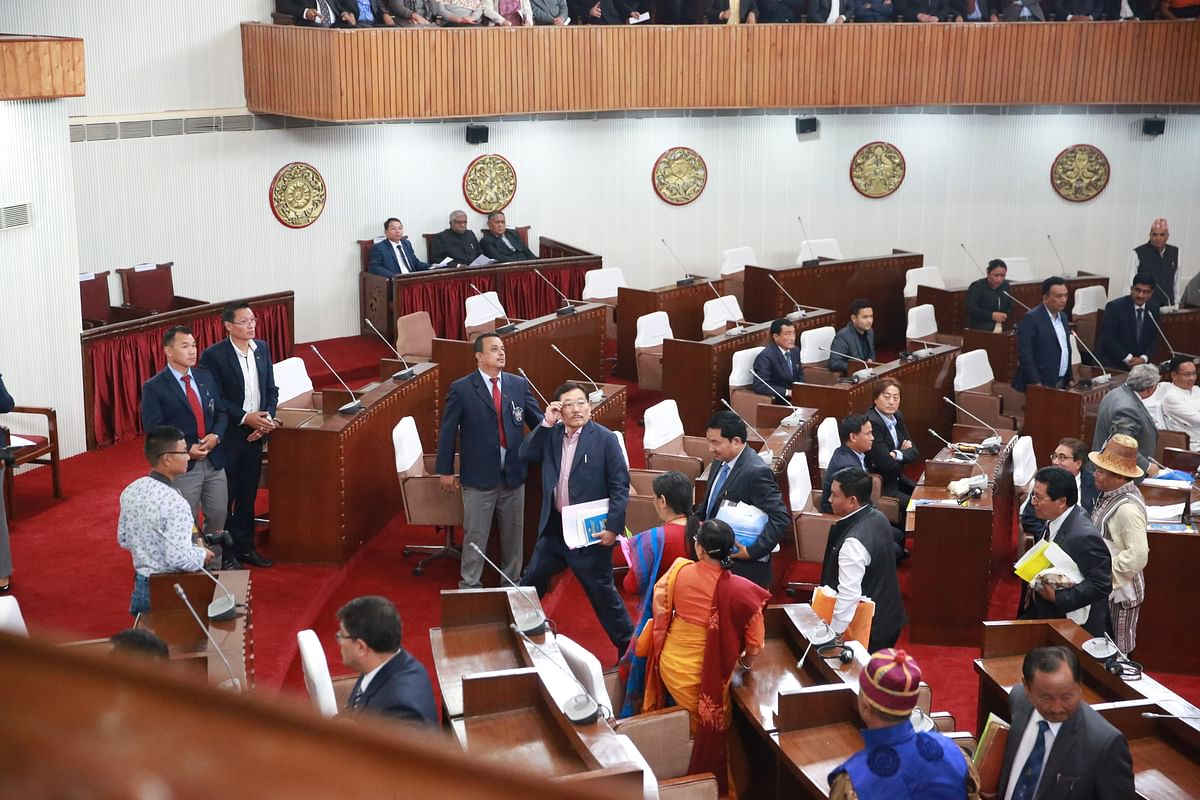 Former chief minister Pawan Chamling along with SDF  legislators stage walkout from the assembly.