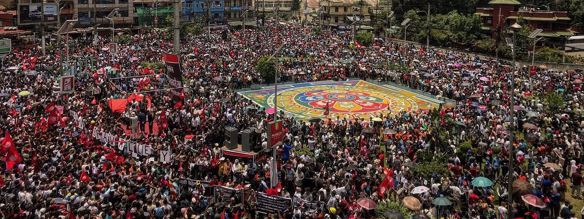 Massive protests in Kathmandu on Wednesday seeking complete scrapping of the Guthi Bill